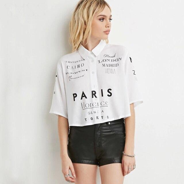 f796ec65 Short sleeve peter pan collar cropped tops women letter print button down  white shirts ladies girls