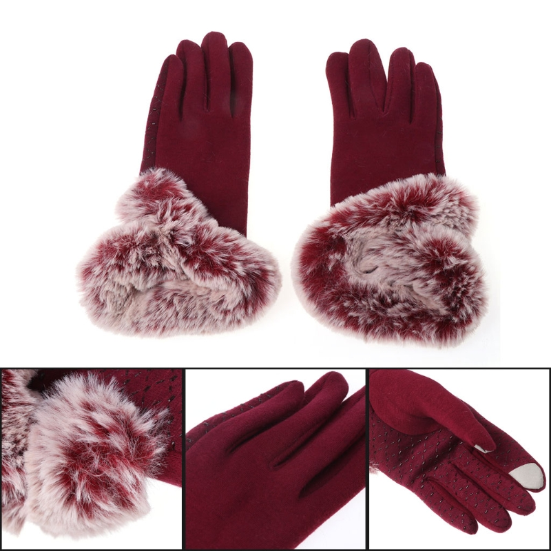 Women Touch Screen Gloves Mitten Full Finger Winter Keep Warm Thick Lady Adult Female Polyester Gloves Solid Soft