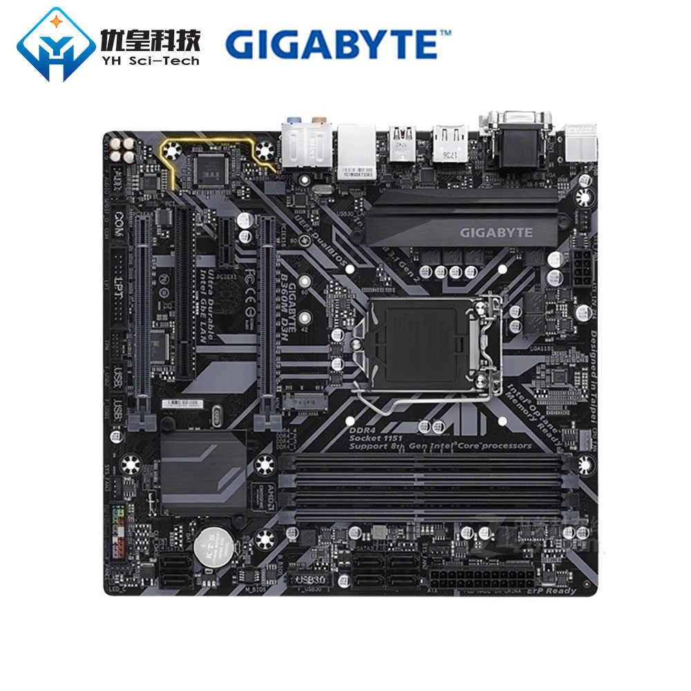 الأصلية المستخدمة سطح اللوحة جيجابايت B360M D3H B360 WIFI LGA 1151 الأساسية i7/i5/i3/بنتيوم/ سيليرون DDR4 64G SATA3 مايكرو ATX