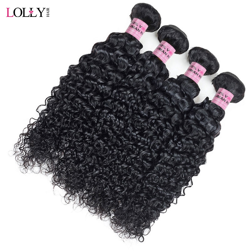 Lolly Indian Hair Kinky Curly Extensions Human Hair Weaving Bundles Natural Color 1/3/4 Piece 100G Non-Remy Free Shipping