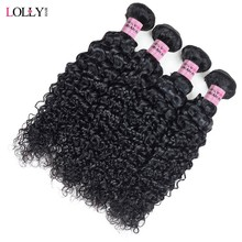Lolly Indian Hair Kinky Curly Extensions Human Hair Weaving Bundles Natural Color 1/3/4 Piece 100G Non-Remy Free Shipping(China)