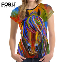 FORUDESIGNS T Shirt Women Harajuku T Shirt Women S Tops Craze 3D Horse Printing Teens Girls