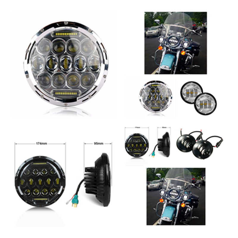7inch 75W Round LED Headlight Hi/Low Beam Head Light with Bulb DRL 4.5 Passing spot driving Fog light for Harley Davidso moto free shipping 7inch round headlight 75w h4 motorcycle round led headlamp daymaker hi low beam head light bulb drl for offroad