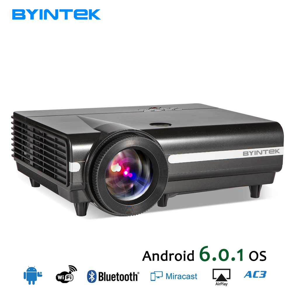 BYINTEK MOON BT96Plus Android Wifi Smart Video LED Projector Proyector For Home Theater Full HD 1080P Support 4K Online Video 2016 new dlp wifi 5600 lumens 4k android 4 4 home theater projector full hd 1080p digital video led mini projector