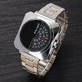 2016 Moda Homens de Aço Inoxidável Completa Relógio de Ponteiro Digital de Design Exclusivo Precisão Inventou de Negócio Masculino Relógio Relógio Militar