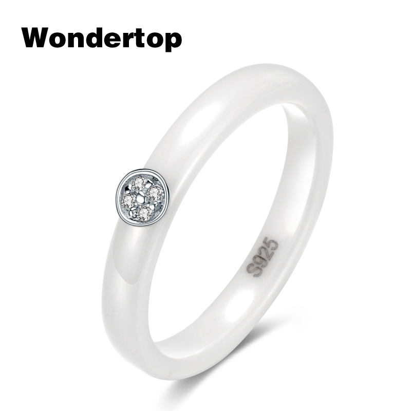 WONDERTOP Authentic Sterling 925 Silver Luxury White Ceramic Ring with Round Clear Cubic Zircon for Women Fashion Party Jewelry