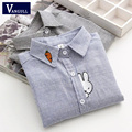 Newest Style Rabbit Embroidery Carrot Collor Stripe Shirt Women's Shirts Good Quality Long Sleeve Blouse Shirt Female Blue