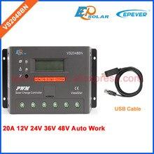 48V 20A PWM solar charger controller VS2048BN 36V 24V Work with USB communication cable EPEVER/EPsolar PWM regulator 20amp