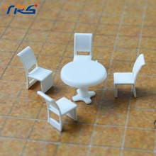 Teraysun 20sets Scale Model 1:50 Round Dining Table & four Chairs Scene Set Miniature Furniture Decoration