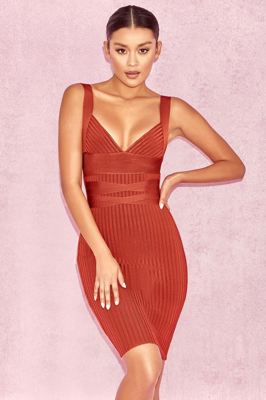 82dccbda5f0c3 US $34.0  2018 Arrivals New Designer Mini Short Dresses Sleeveless Party  Outfits Women Coral Plunge Neck V Neckline Strappy Bandage Dress-in Dresses  ...