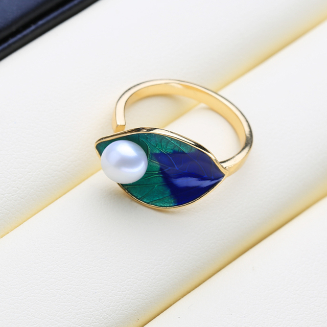 FENASY Natural Freshwater Pearl Rings For Women Fine Jewelry Female Bohemian Colorful Silver Color blue Stones Party Ring