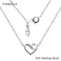 925 Sterling Silver Ribbons Of Love Necklace Charms With Pendant For Women Fashion Elegant Necklace