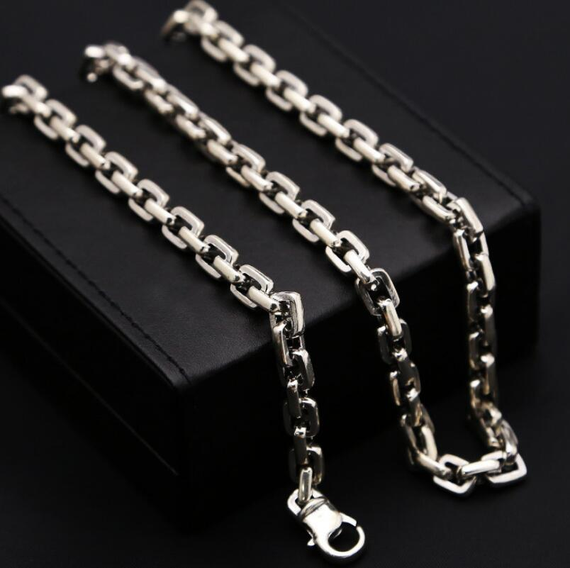 7mm creative square cross box chain link silver necklace sterling 925 silver jewelry 6mm thick weave twist cross link chain necklace pure sterling 925 silver jewelry