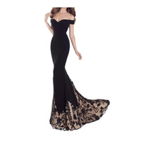 Women Vintage Evening Long Lace Dress Prom Party Wedding Gown Wrap Dresses Bodycon Sexy Elegant Black