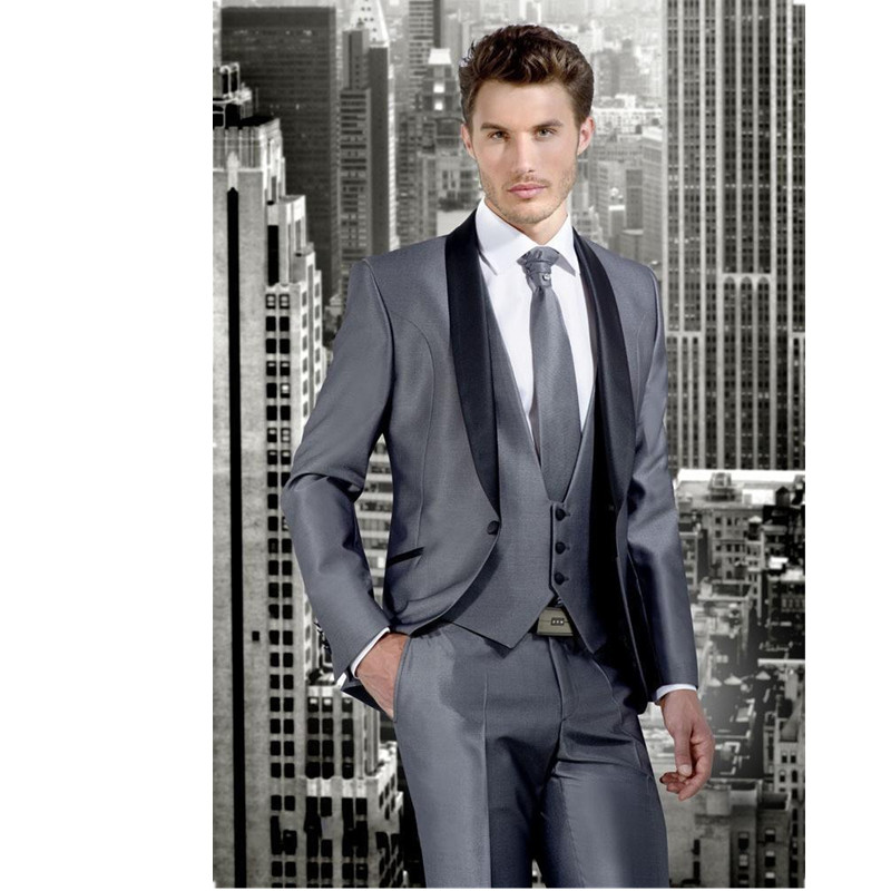 Men's suit custom size coat + pants + vest, tie Groom Tuxedos Grey Groomsmen Peak Black Lapel Best Man Suit Bridegroom Suits