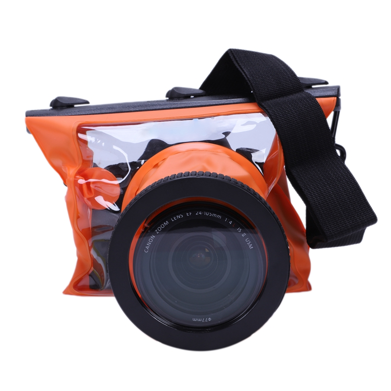Slr Camera Waterproof Case 5D3 For Canon 6D 5D2 700D For Nikon Underwater Camera Housing Case Diving Waterproof Dry Bag—Orange