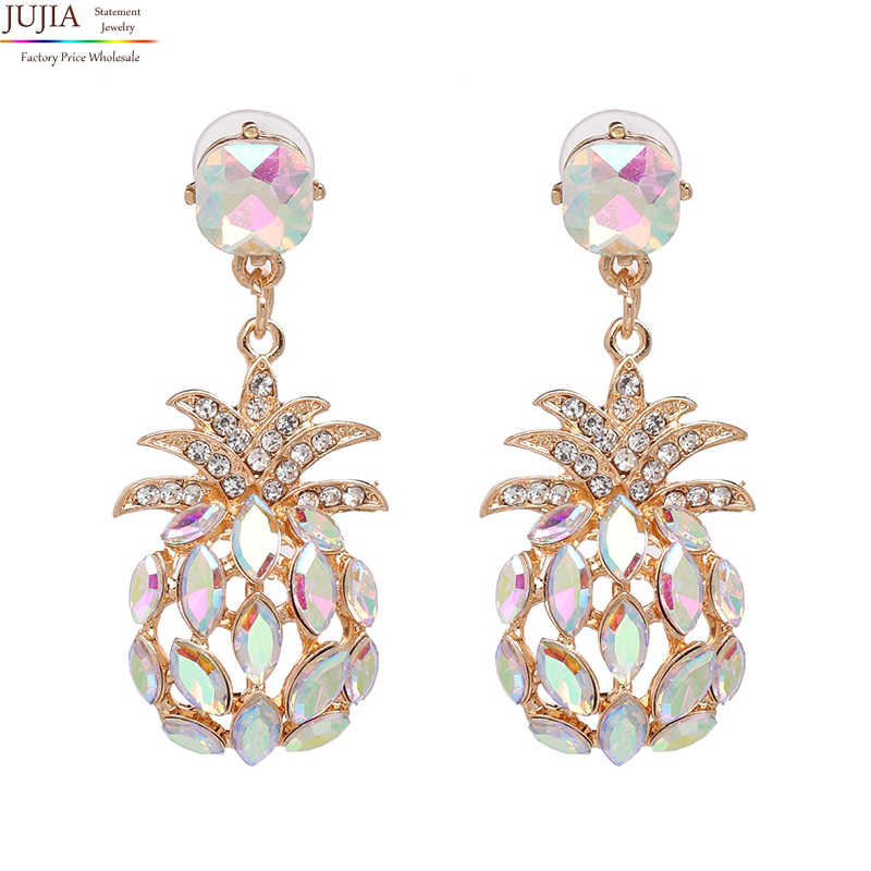 db800e94a ... JUJIA hot 7 colors crystal fashion statement crystal pineapple stud  Earrings for women girl pineapple earring