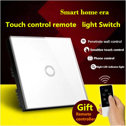 UK Standard Touch Remote control Light Switch, 1Gang1Way White/Gold Pearl Crystal Glass Wall Switch, With LED Indicator white 1 gang 1 way led crystal glass panel light touch screen remote switch for light with wireless remote control 110v 220v