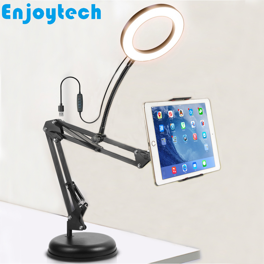 New Tabletop Stands Holder With Clip For Mobile Phones IPad Tablets Bracket Mounts With LED Ring Flash Light For Video Bloggers