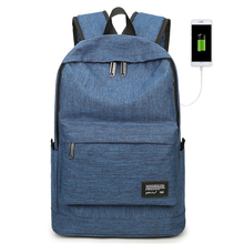 Business Casual Backpack USB Male Computer bag Big Middle School Female School bag Travel Backpack Simple brand backpack men external usb charge antitheft school bag leather travel bag casual business male students school bag thw358