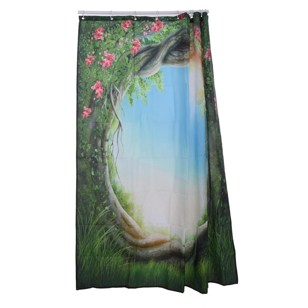 High Quality Polyester Curtain Greenery Fairy Trees Enchanted Forest Shower  Curtain Bathroom Decor Family Art Bath