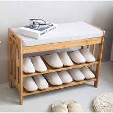bamboo shoes bench Entrance wear shoes stool with cushion small shoes cabinet simple modern solid wood multi-layer shoe rack nordic style simple foyer home padded cushion solid wood storage shoe bench shoes stool