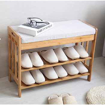 bamboo shoes bench Entrance wear stool with cushion small cabinet simple modern solid wood multi-layer shoe rack