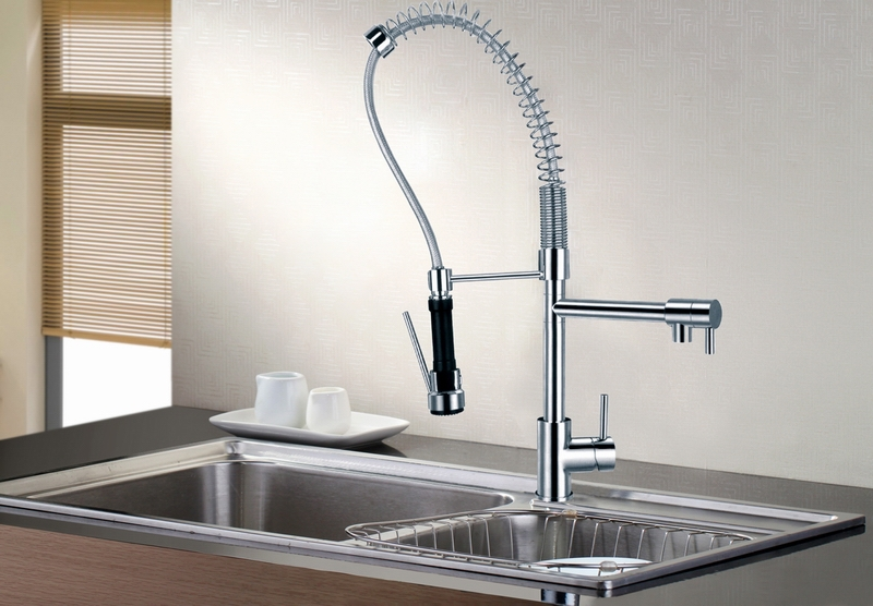 Pull Down Pre Rinse High Arc Spring Kitchen Faucet With Pot Filler Water Swivel Dual Spray Chrome Br Sink Mixer In Faucets From