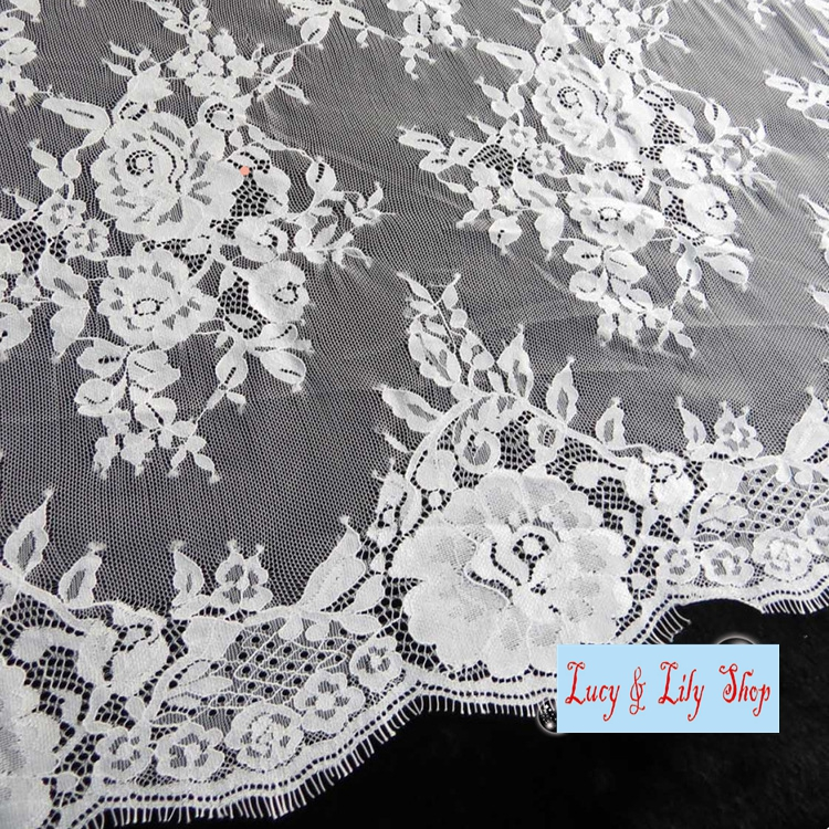 High quality Off white black chantilly lace eyelash french lace ...