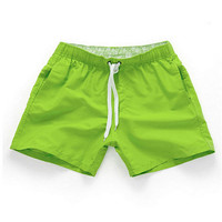 Fluorescent green-Men Beach Sport Swim Trunks Surf Swimwear Quick Drying Briefs