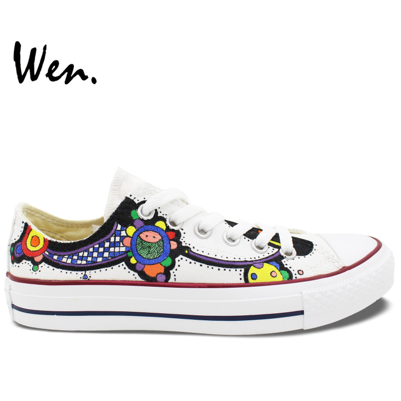 ФОТО Wen White Hand Painted Shoes Design Custom Floral Totem Men Women's Low Top Canvas Sneakers for Gifts