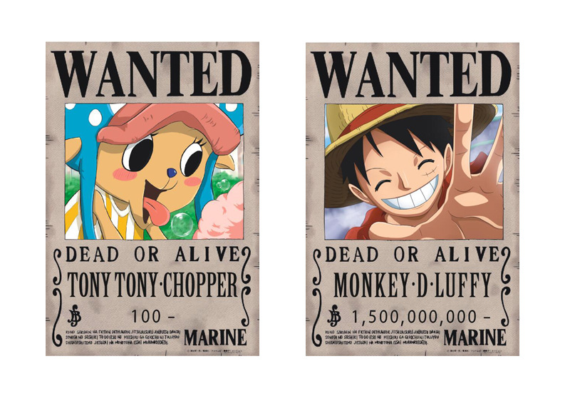 Chopper and Luffy ONE PIECE Wanted Posters