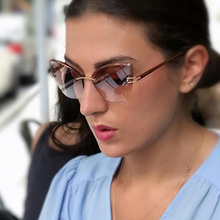 MARC Women designer sunglasses Clear Brand Cat eye Gradient Rimless Butterfly Polycarbonate Trend fashion UV400
