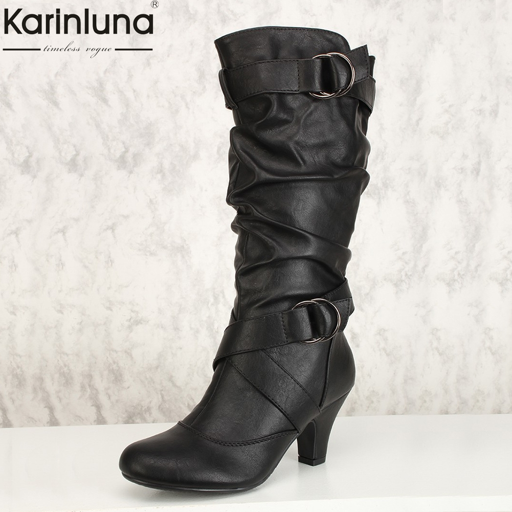 все цены на Karinluna 2018 large Size 34-43 dropship fashion slip on mid-calf boots Woman Shoes Fall winter high heels women's shoes Boots