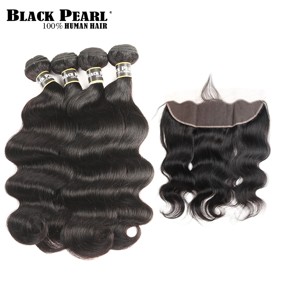Black Pearl Body Wave 13x4 Lace Frontal Closure with Bundles Brazilian Hair Weave 4 Bundles with