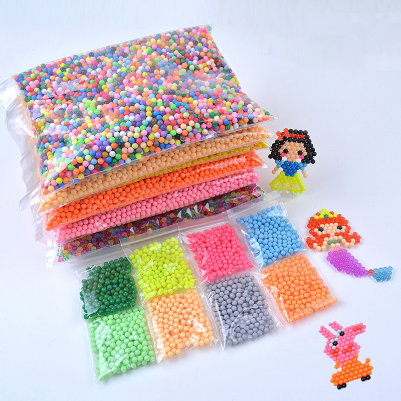 200-1000Pcs/Set 24 Colors 5mm Water Spray Aq Perlen Magic Beads Educational 3D Puzzles Accessories Kit For Children Kids Toys