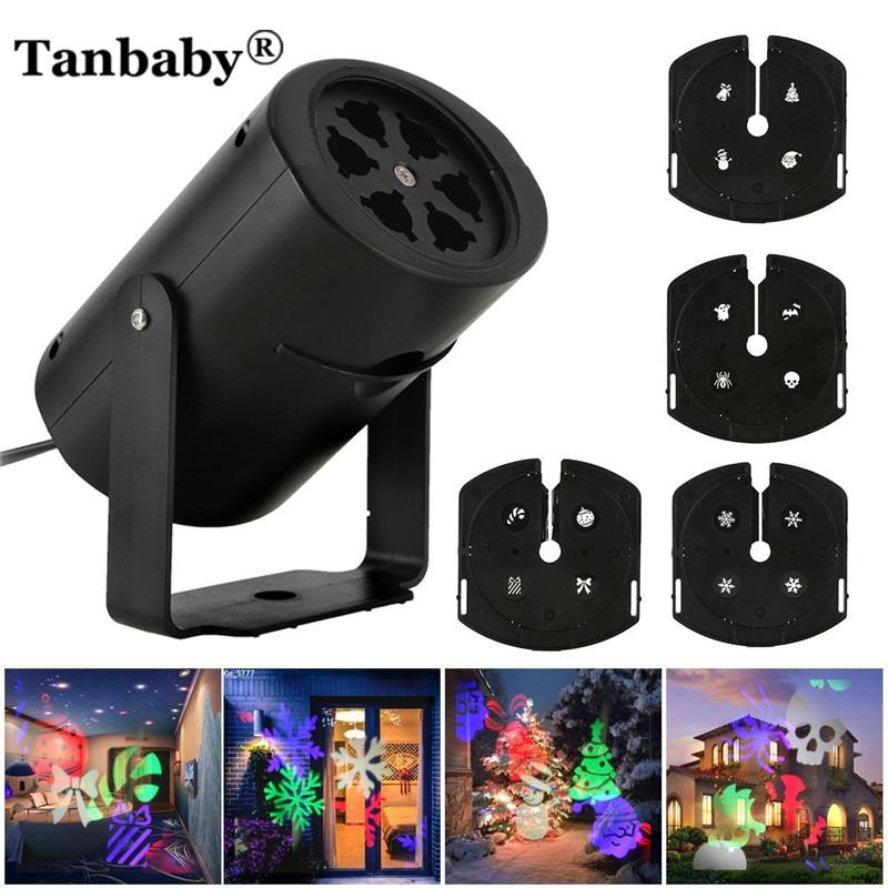 Tanbaby Mini EU/UNS 100-240 V Urlaub licht führte projektor rampenlicht mit 4 gleitet/Outdoor weihnachten, Party dekoration