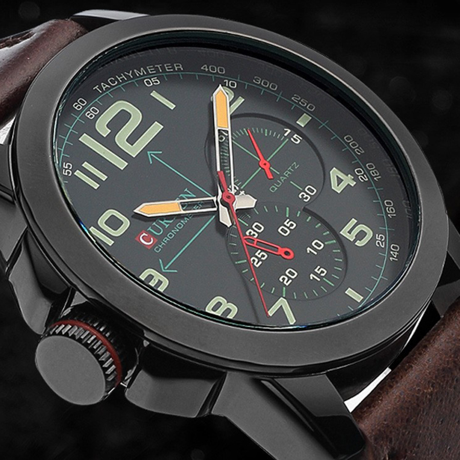 2015 Casual Curren 8182B Men's Watches Luxury brand Fashion Watch leather strap Sports Quartz Wristwatches men gift - Mia shop store