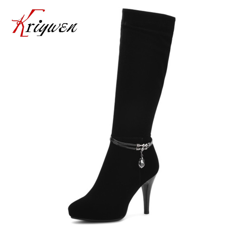 2017 Autumn Winter Ladies Fashion thin high heels knee high Boots rhinestone Thigh High pointed toe Brand work dress Boots shoes