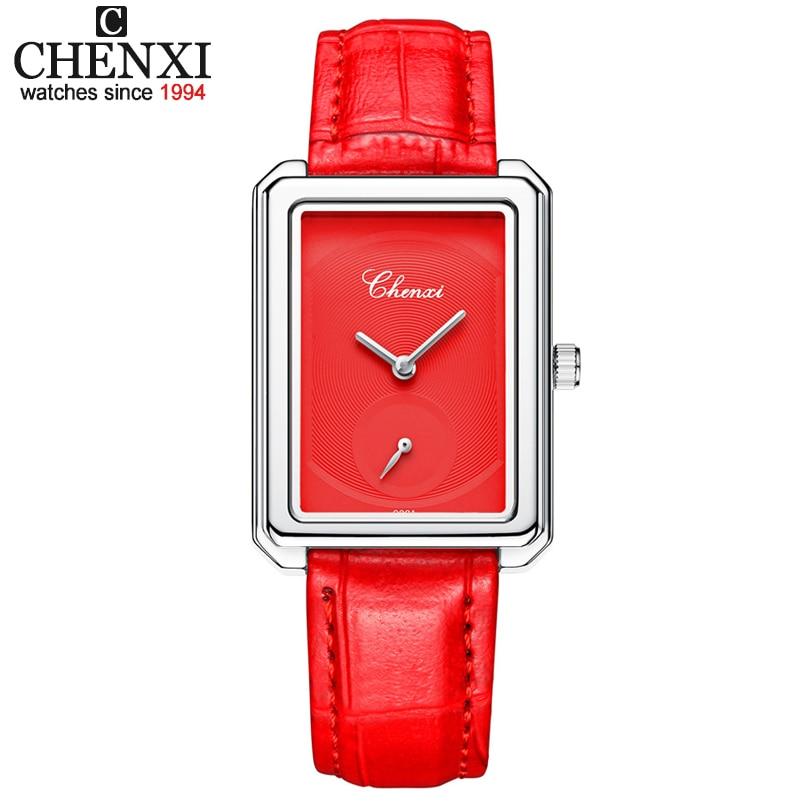 67c8cddef Chenxi العلامة التجارية النساء الكوارتز ساعة كلاسيكي الذهبي والفضي ساحة  الهاتفي الأعمال أنيقة أنثى جلدية ساعة اليد هدية