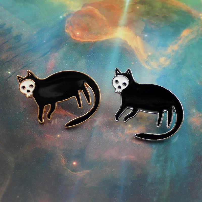 Хэллоуин черный котенок Брошь с дизайном «скелет» череп лицо кошка тело панк стиль эмаль вязанная спицами шапка рюкзак ошейник значок персональный подарок