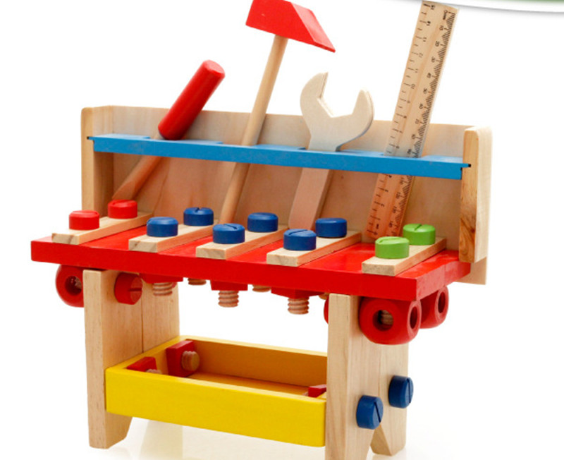цена на New wooden toy Wooden tool sets nut disassembly fight wooden blocks baby educational toy baby gift Free shipping