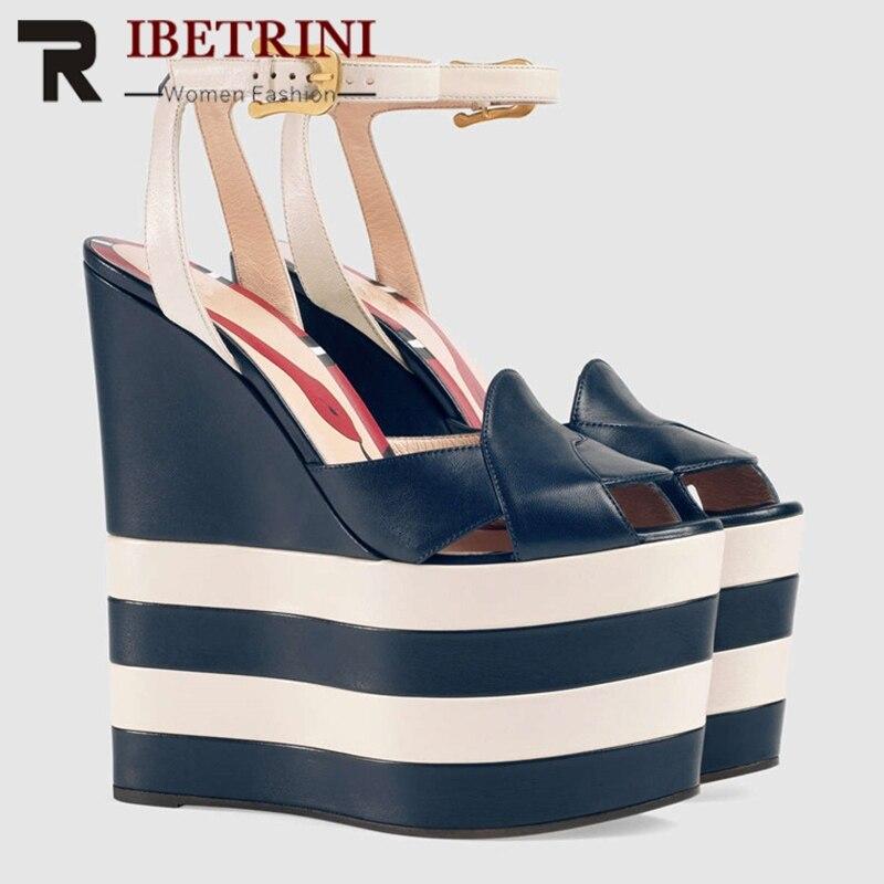 Ritrahini nouvelle marque épaisse plate-forme sandales femmes mode été grande taille 34-42 Super haute compensées femmes Shose femme