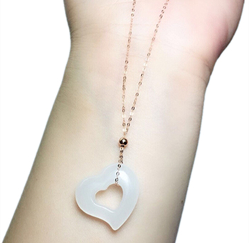 New 18K gold inlaid natural Hetian white jade love pendant necklace with certificate