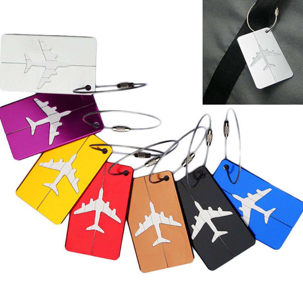 HOT Luggage Tag Aluminum Alloy Air Plane Travel Suitcase Name Address ID Label