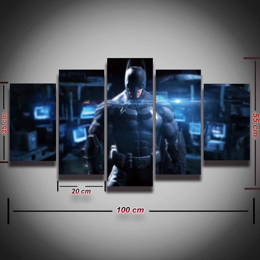 printed picture cool batman painting on canvas 5 panels wall decoration framed canvas art print poster