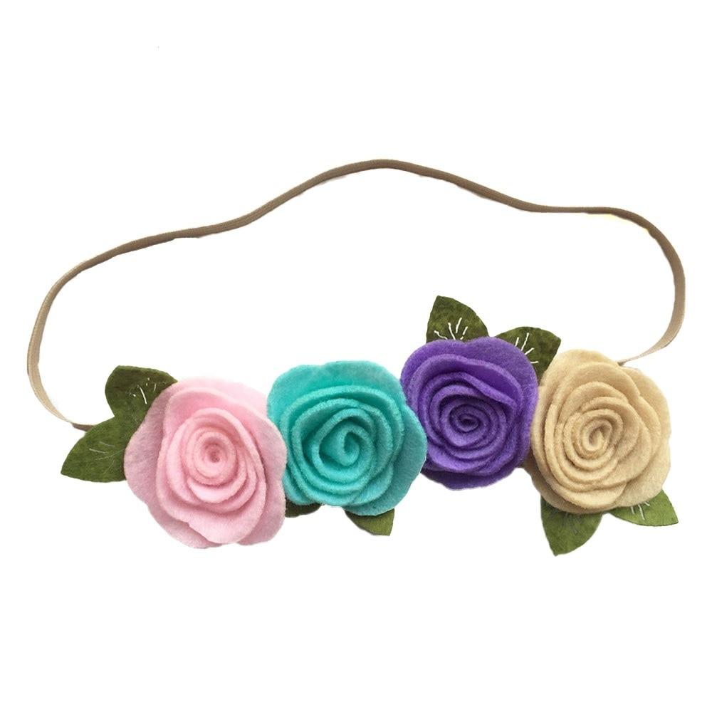 2018 Новая девушка пляж цветок оголовье четыре чувствовал розы цветы аксессуары для волос листья ткачество Головные уборы вечерние фотографии украшения