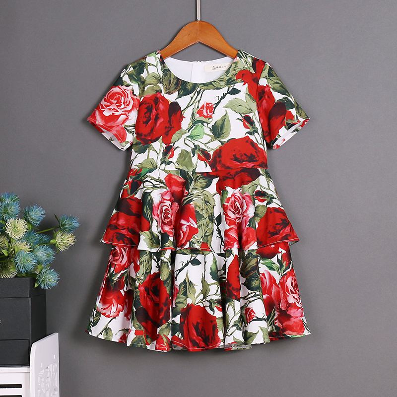 children clothes women girl summer big pleated skirt family look mother daughter dresses Rose Short Sleeve sister matching dress 2016 family matching ourfit paternity vacation holiday beach dress chiffon skirt mother daughter lady girls short sleeve dresses