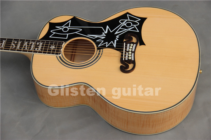 Glisten Elvis Presley J-200 Acoustic Guitar Nature Solid Wood