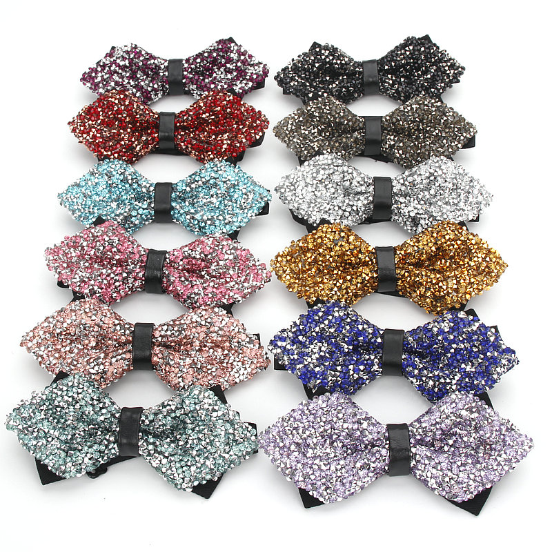 Men's Fashion Adjustable Shinning Rhinestone Luxurious Neck Bow Tie Party Diamond Wedding Business Bowtie Butterfly Accessories